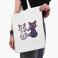 Эко сумка шоппер белая Луна Кошки Сейлор Мун (anime Sailor Moon Cats) (9227-2849-3)  41*35 см , фото 1