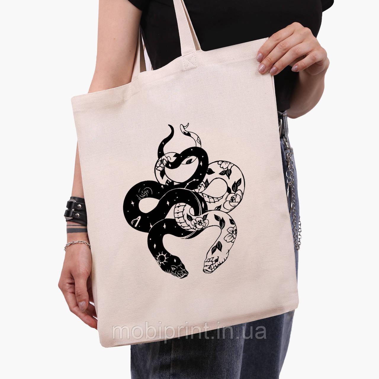 Эко сумка шоппер Инь Янь Змеи (Yin Yang Snake) (9227-2850)  41*35 см
