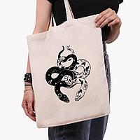 Эко сумка шоппер Инь Янь Змеи (Yin Yang Snake) (9227-2850)  41*35 см , фото 1