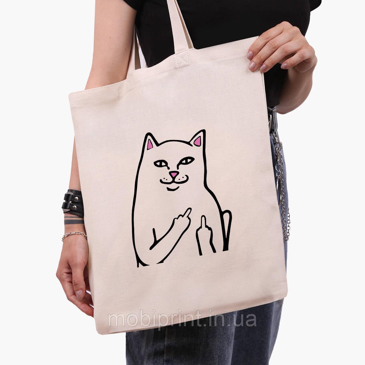 Эко сумка шоппер мем Белый Кот с пальцем (meme Cat Middle finger) (9227-2851)  41*35 см