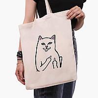 Эко сумка шоппер мем Белый Кот с пальцем (meme Cat Middle finger) (9227-2851)  41*35 см , фото 1