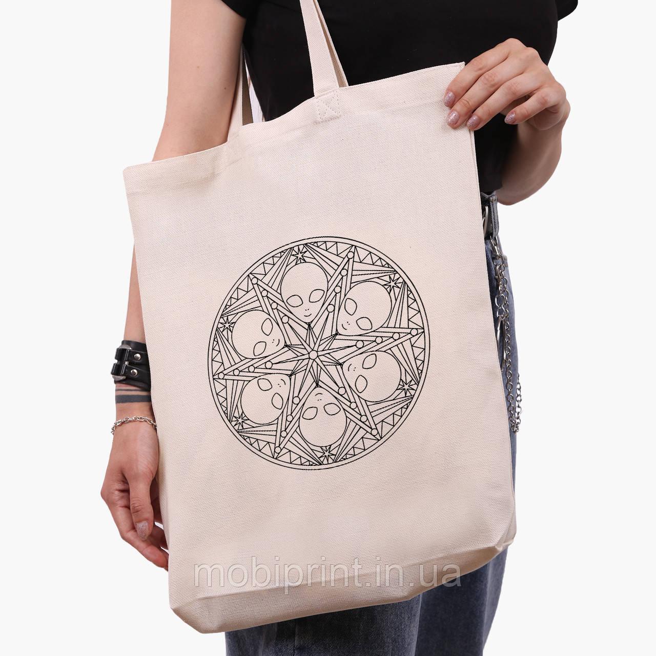 Эко сумка шоппер белая Инопланетяни (Aliens) (9227-2852-1)  41*39*8 см