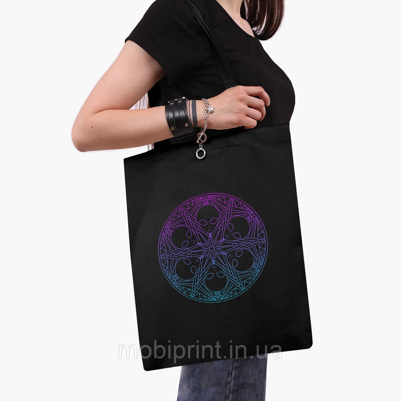 Эко сумка шоппер черная Инопланетяни (Aliens) (9227-2852-2)  41*35 см