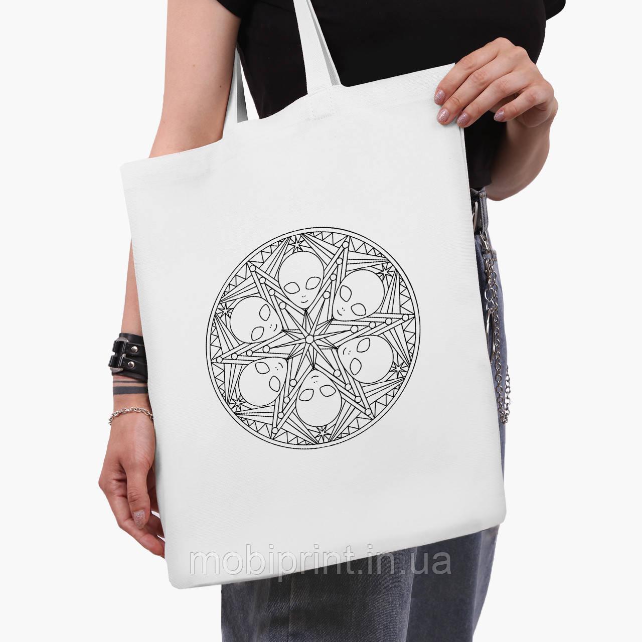 Еко сумка шоппер біла Инопланетяни (Aliens) (9227-2852-3) 41*35 см