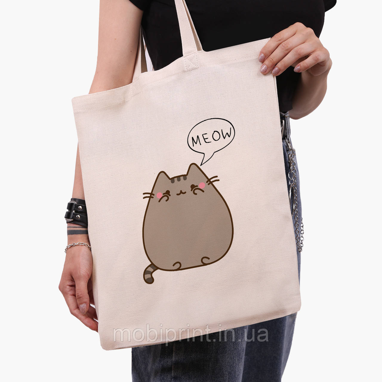 Эко сумка шоппер Кот Пушин (Pusheen Cat) (9227-2853)  41*35 см