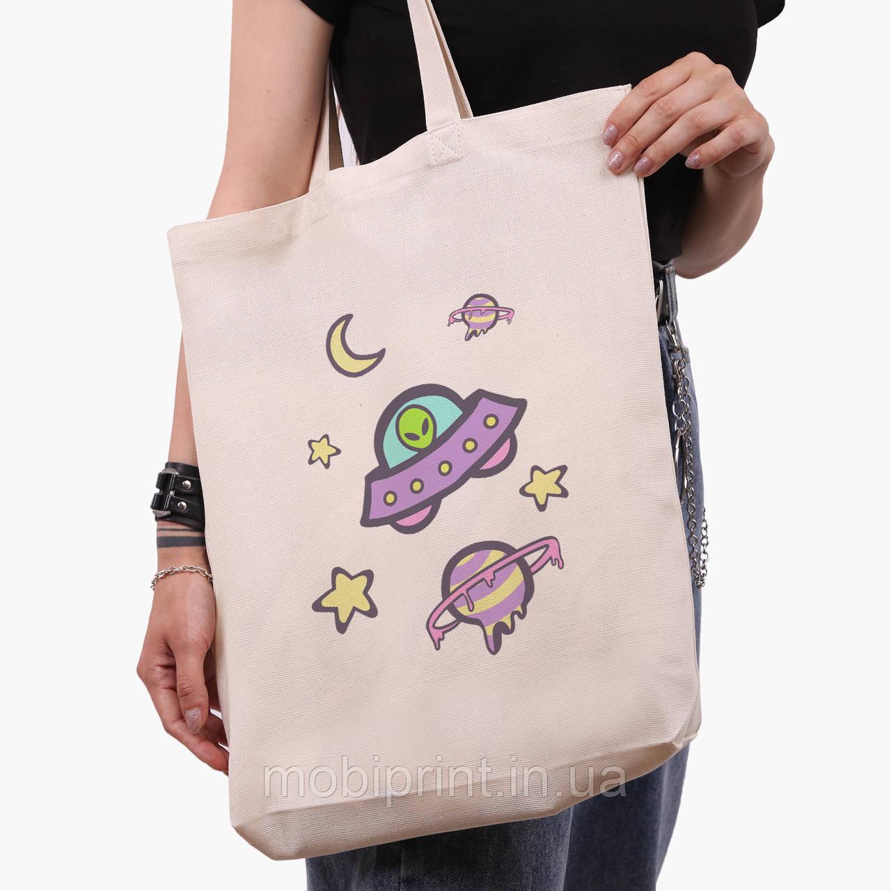 Эко сумка шоппер белая Инопланетяни в космосе (Aliens in space) (9227-2854-1)  41*39*8 см