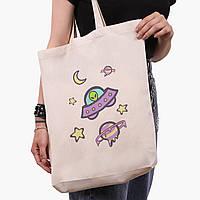 Эко сумка шоппер белая Инопланетяни в космосе (Aliens in space) (9227-2854-1)  41*39*8 см , фото 1