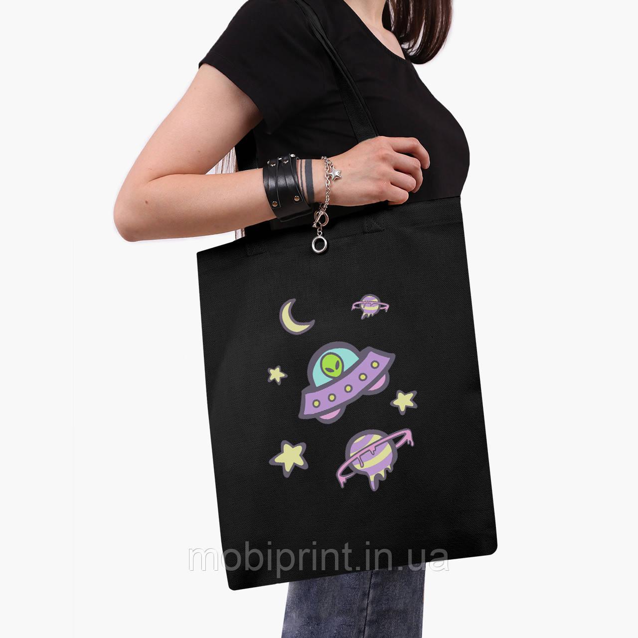 Еко сумка шоппер чорна Инопланетяни в космосі (Aliens in space) (9227-2854-2) 41*35 см
