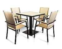 """Комплект меблів для літніх майданчиків """"Мальта"""" стіл (80*80) + 4 стільця Білий, фото 1"""