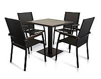 """Комплект меблів для літніх майданчиків """"Мальта"""" стіл (80*80) + 4 стільця Венге, фото 1"""