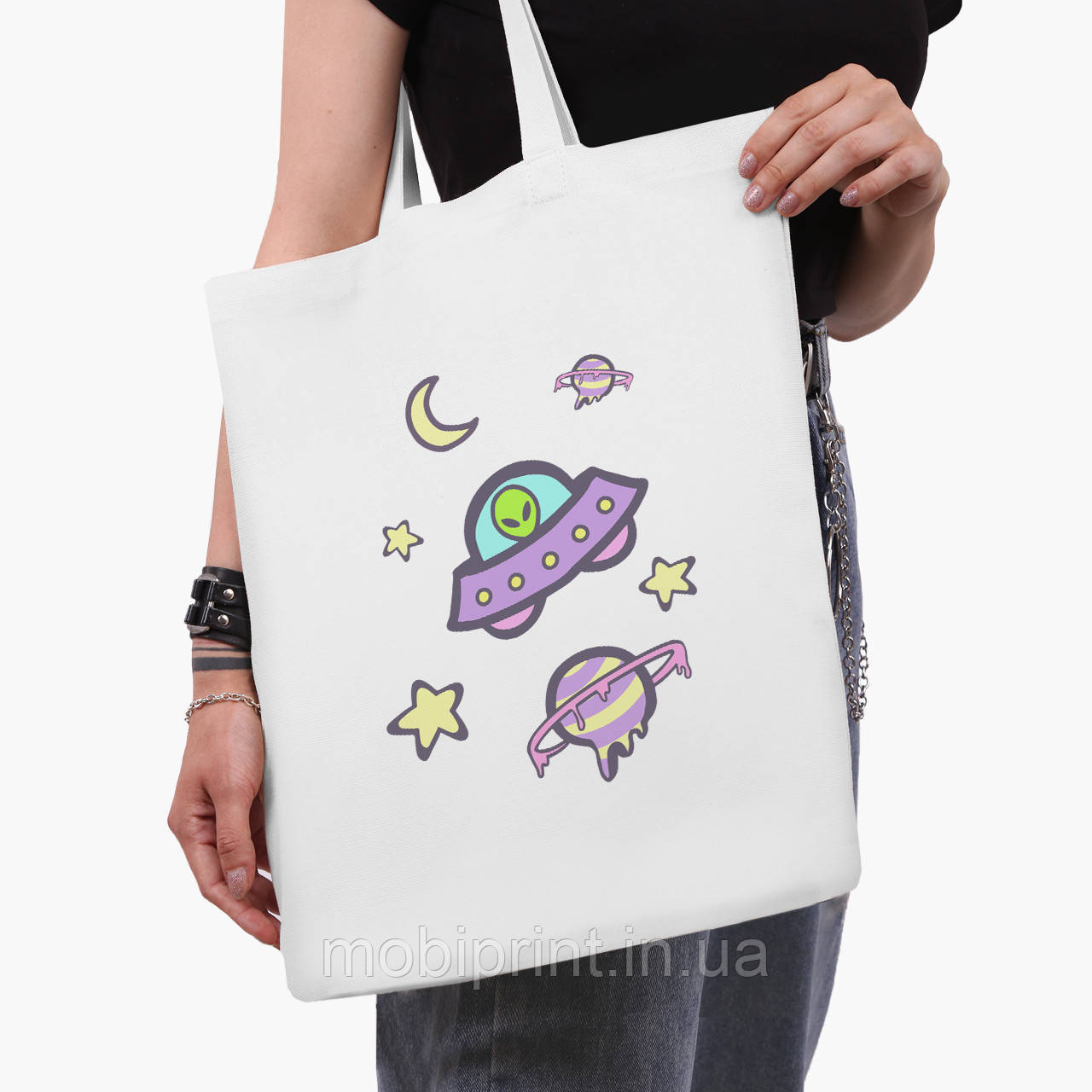Эко сумка шоппер белая Инопланетяни в космосе (Aliens in space) (9227-2854-3)  41*35 см