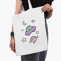 Эко сумка шоппер белая Инопланетяни в космосе (Aliens in space) (9227-2854-3)  41*35 см , фото 1
