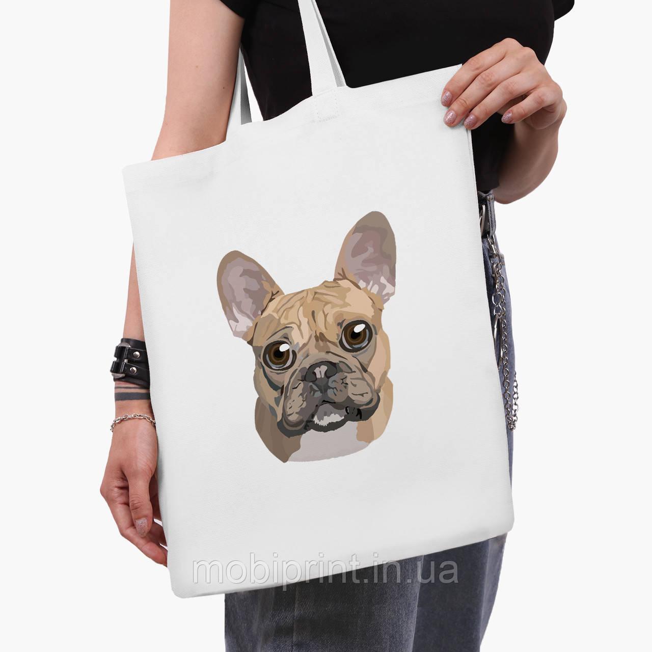 Эко сумка шоппер белая Французкий бульдог (9227-2857-3)  41*35 см