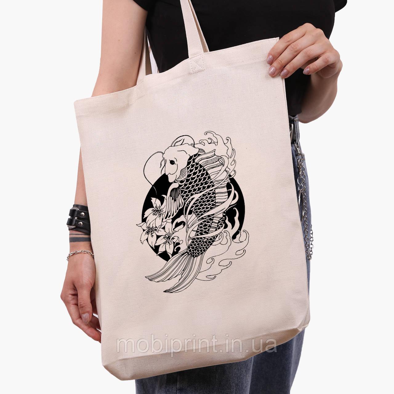 Эко сумка шоппер белая Рыбка Кои (Koi Fish) (9227-2858-1)  41*39*8 см