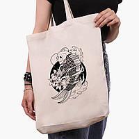 Эко сумка шоппер белая Рыбка Кои (Koi Fish) (9227-2858-1)  41*39*8 см , фото 1