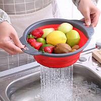 Складной силиконовый дуршлаг 3 шт. корзина для мытья фруктов и овощей, складаний друшляк для посуду з ручкою
