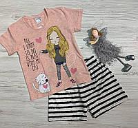 Пижама с шортами на девочку хлопок  3-4 года