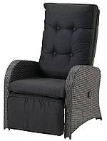 Большое лаунж кресло с подставкой для ног (многопозиционное) серое (искусственный ротанг)