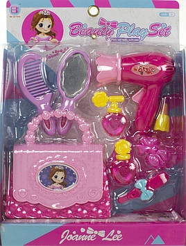 Набір перукаря: фен,гребінець,дзеркало,сумка,в кор-ці,22х30х8см №BJ1356(48)