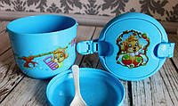 Ланч - бокс два яруса + ложка и тарелка. Контейнер для продуктов.Голубой
