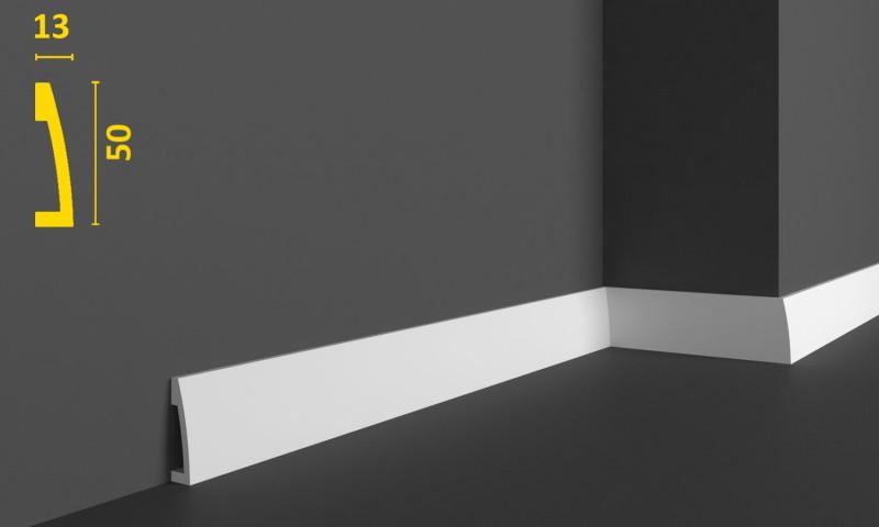 Плинтус треугольной формы под покраску из дюрополимера 50 мм, 2,0м