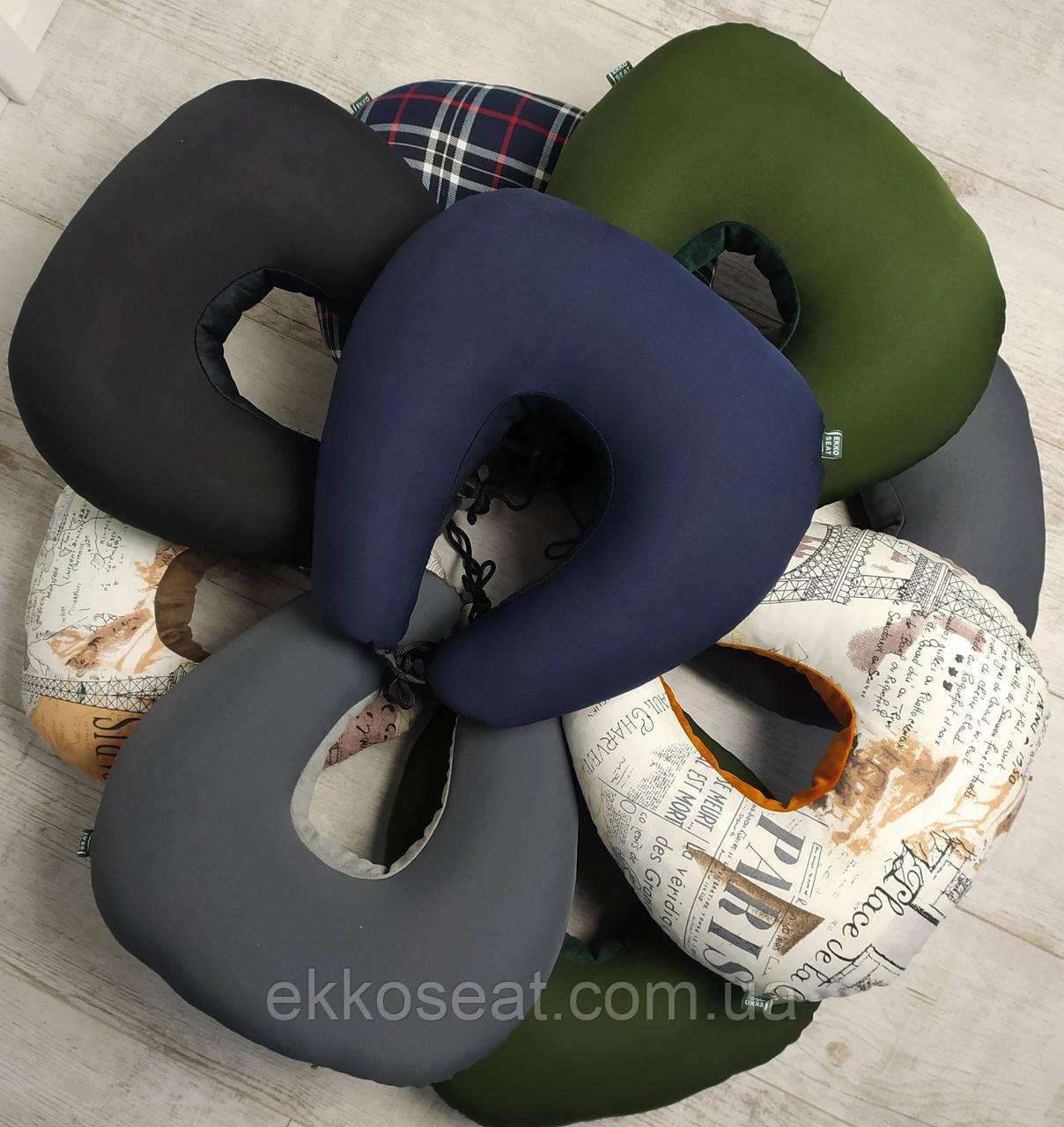 Подушка для путешествий под голову и шею EKKOSEAT.  Бинарная с велюровой вставкой.
