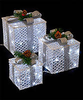 Новогоднее украшение LED Подарки под елку 45см, 3шт, белый