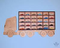"""Полка-Грузовик в детскую комнату для 30 моделей авто """"Hot Wheels """" (Хот Вилс) деревянная"""