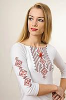 Жіноча вишита футболка із рукавом 3/4 білого кольору із червоним орнаментом «Гуцулка», фото 1