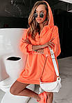 Женская туника, турецкая двунить, универсальный 42-46 (неон оранжевый), фото 2