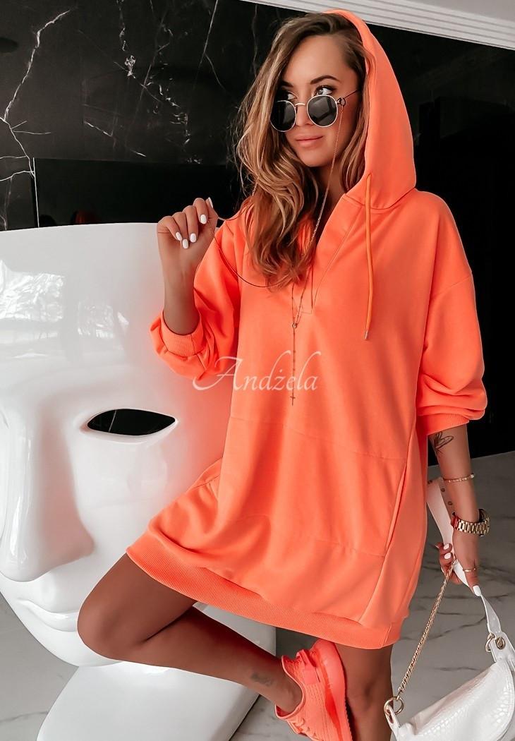 Женская туника, турецкая двунить, универсальный 42-46 (неон оранжевый)