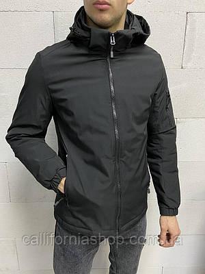 Ветровка мужская черная с капюшоном | Куртка осенняя весенняя демисезонная черная