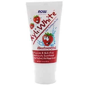 Детский зубной гель XyliWhite, без фтора, клубничный вкус (85 г) Now Foods