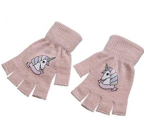 Перчатки единороги светло-розовые
