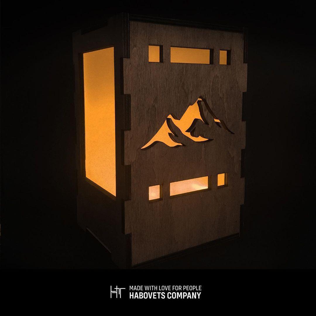 Дерев'яний світильник нічник «Mountain», деревянный светильник ночник «Mountain»