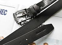 Кожаный мужской ремень для джинсов Massimo Dutti black