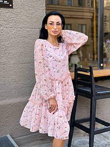 Платье свободного кроя с рюшами в цветочный принт 42-46 р
