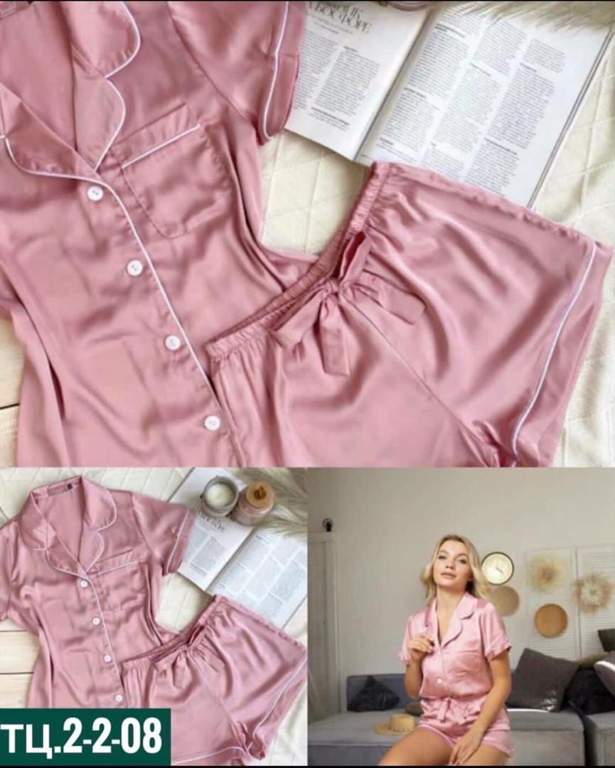 Женская пижама, шёлк Армани, р-р 42-44; 44-46 (пудровый)