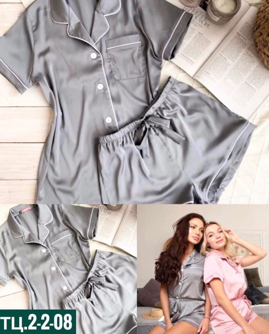 Женская пижама, шёлк Армани, р-р 42-44; 44-46 (серый)