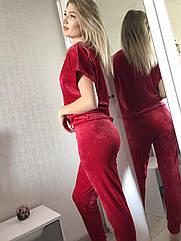 Піжама жіноча трійка футболка+шорти+штани у червоному кольорі. M. L. XL