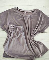 Піжама жіноча футболка та шорти колір кава , м'яка м'який плюш. Туреччина Розмір: S. М. L