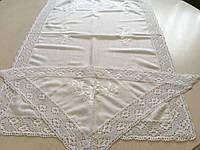 """Набір Скатертина+серветки (4 шт.) з вишивкою ручної роботи білим по білому """"Білі квіти"""""""