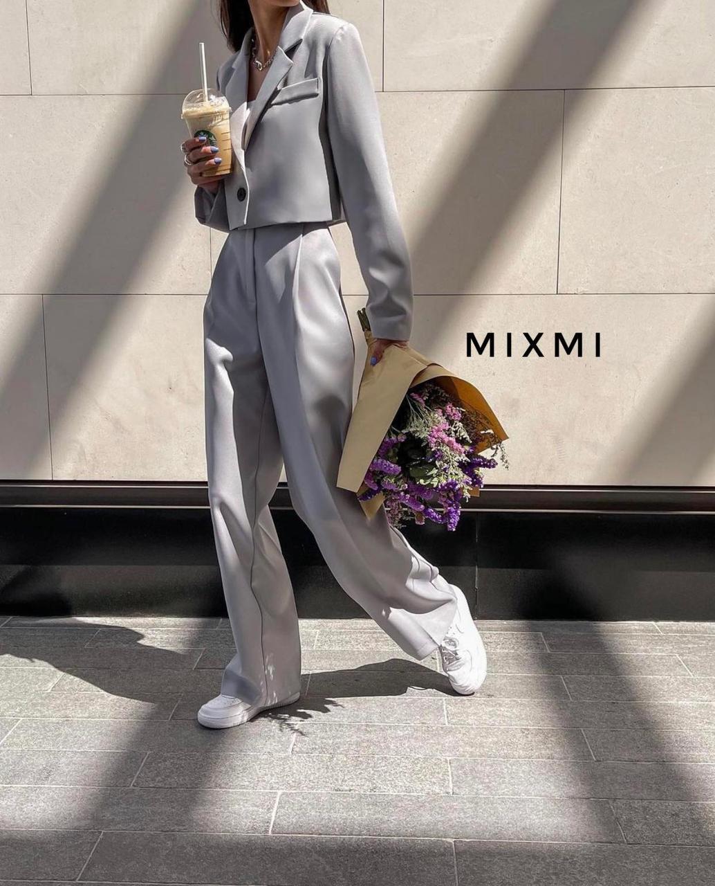 Жіночий костюм, костюмка класу люкс, р-р 42-44; 44-46 (сірий)