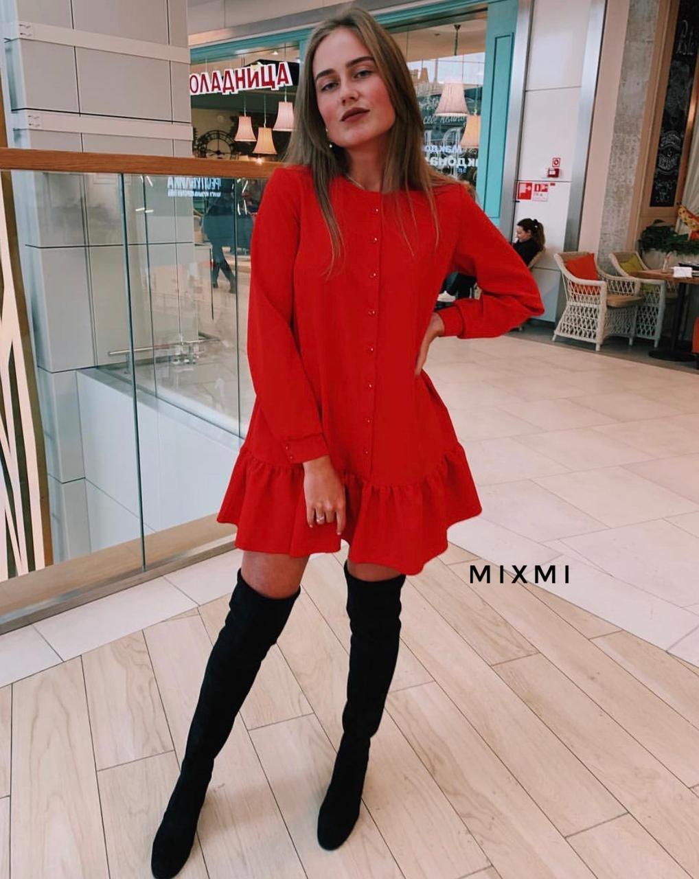 Женское платье, костюмка люкс, р-р универсальный 42-46 (красный)