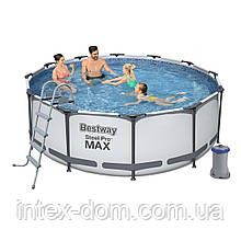 Каркасный бассейн Bestway 56420, (366х122 см) (Картриджный фильтр-насос 2 006 л/ч, лестница, тент, )