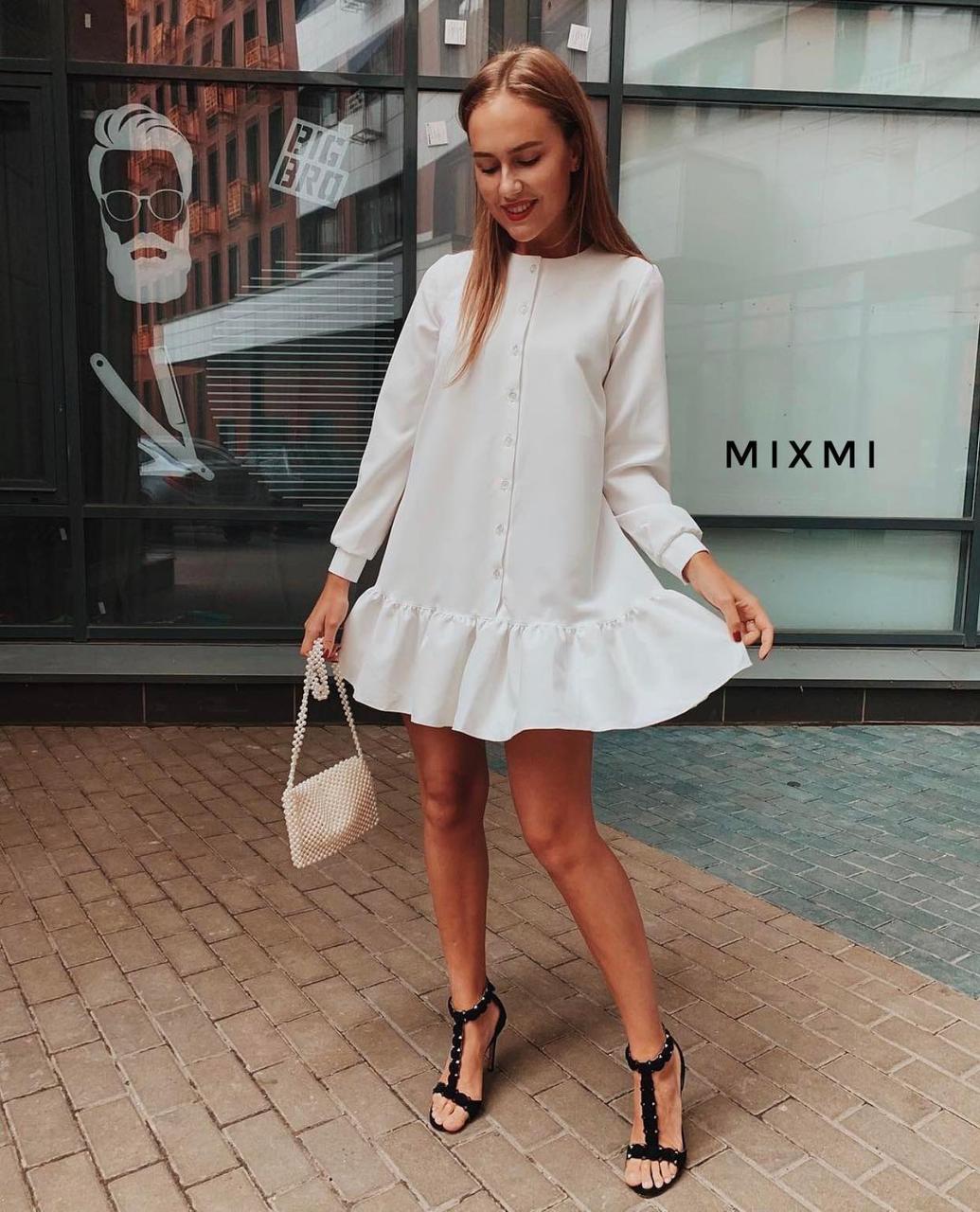 Женское платье, костюмка люкс, р-р универсальный 42-46 (белый)
