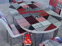 Обеденная группа комплект кухонной мебели овальный стол и стулья,Patov каленное стекло с оригинальным декором