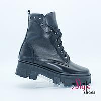 Ботинки женские демисезонные черного цвета мартенсы