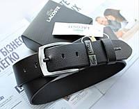 Мужской кожаный ремень для джинсов Lacoste черный