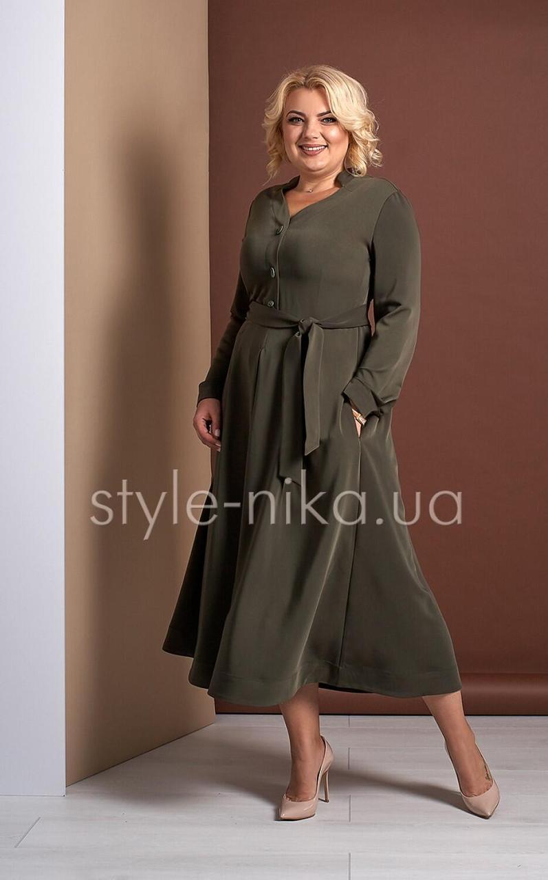 Женское платье миди хаки Ингрид Style-Nika MKSN3033-01